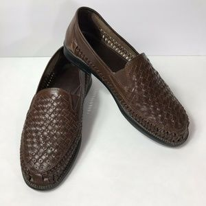 Botany 500 Mens Shoes Leather Weave Loafer Brown